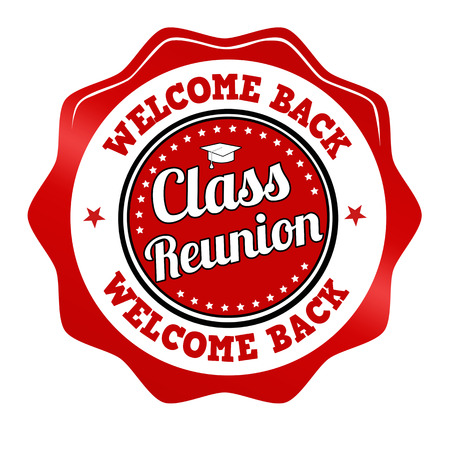 Red promotional sticker, icon,stamp or label for Class Reunion on white, vector illustration