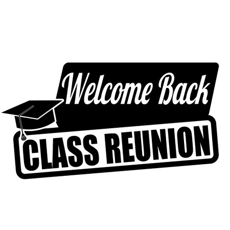 Welcome back class reunion label or stamp on white, vector illustration