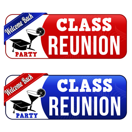 reunion: Class reunion banners on white background, vector illustration Illustration