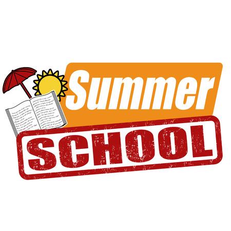 Summer School Grunge Rubber Stamp On White, Vector Illustration ...