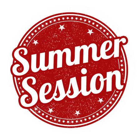 session: Summer session grunge rubber stamp on white, vector illustration