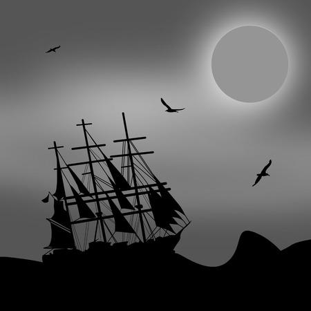 Vintage sailboat sailing at the sea in blak and white, vector illustration