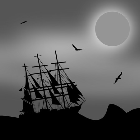 blak white: Vintage sailboat sailing at the sea in blak and white, vector illustration
