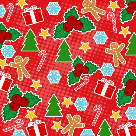 Seamless pattern with Christmas elements on red background, vector illustration Vector