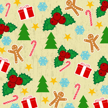 Seamless pattern with Christmas elements on yellow grunge background Vector