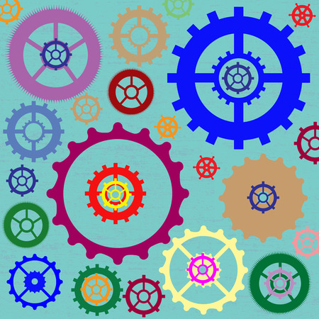 dag: Color different gear wheels abstract background, vector illustration Illustration