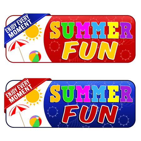 festival moment: Summer fun banners on white background, vector illustration