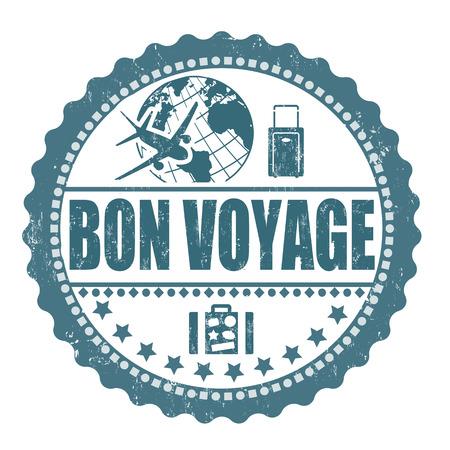 Bon voyage grunge rubber stamp on white, vector illustration Vector
