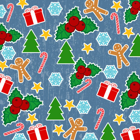 Seamless pattern with Christmas elements on blue grunge background, vector illustration Vector
