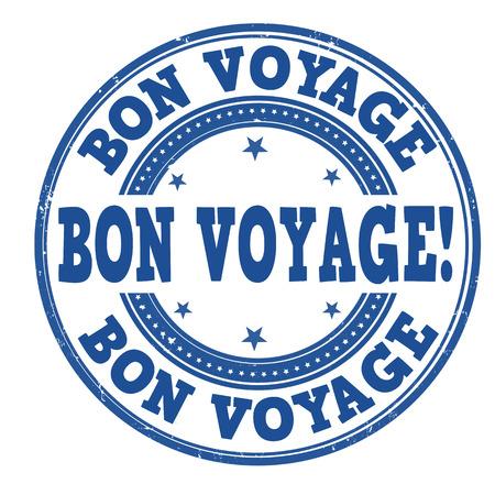 Bon voyage grunge rubber stempel op een witte, vector illustratie