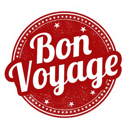 bon: Bon voyage grunge rubber stamp on white, vector illustration
