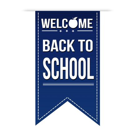 Welcome back to school banner design over a white background Vector