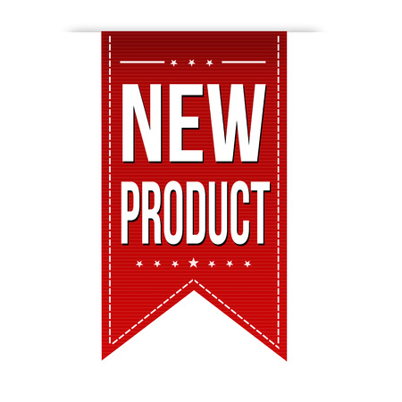 new product: New product banner design over a white background