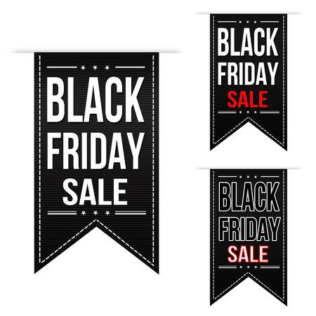 ruban noir: Black friday conception vente de la bannière fixé sur un fond blanc Illustration
