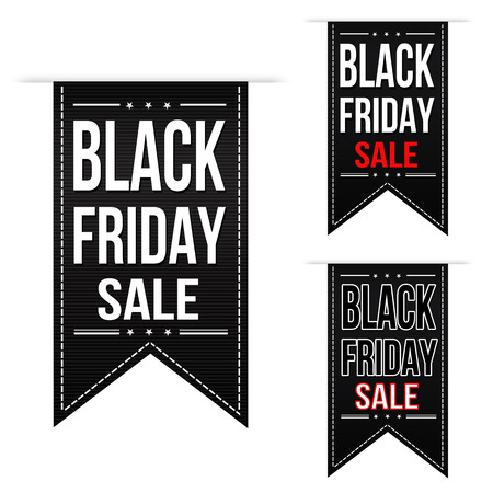 Black friday sale banner design set over a white background Ilustrace