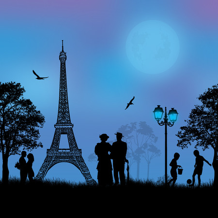Paris cityscape and people silhouette Vector