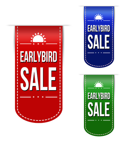 Early bird discount ribbons set on white