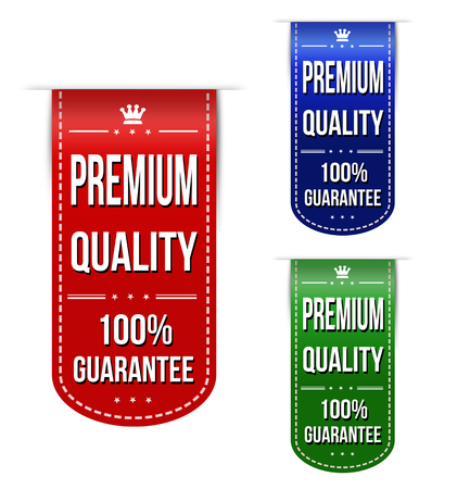 recommendations: Premium quality banner design set over a white background