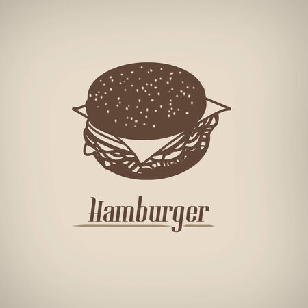 beefburger: Hamburger in vintage style poster with hamburger symbol