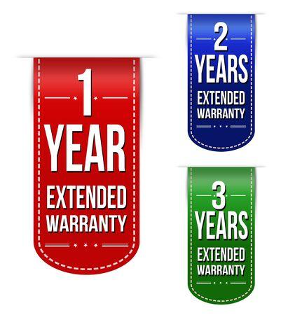 extended: Extended warranty banner design set over a white background Illustration