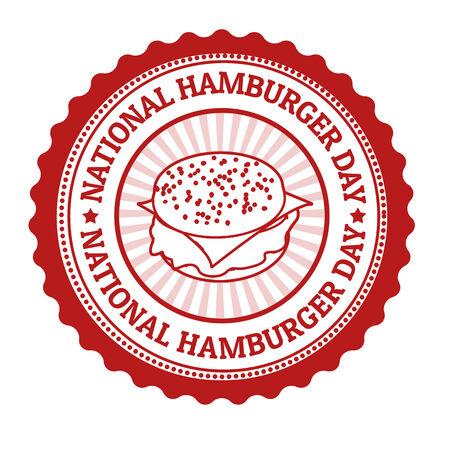 National hamburger day grunge rubber stamp Vector