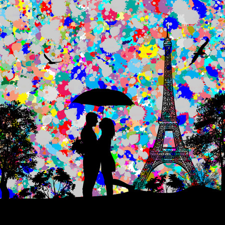Vintage view of Paris on the grunge poster with colored splash and couple in love Vector