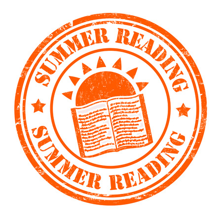 Summer reading grunge rubber stamp on white