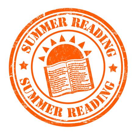 Summer reading grunge rubber stamp on white