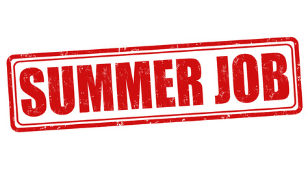 job offers: Summer job grunge rubber stamp on white