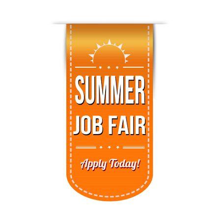 Summer job fair banner design over a white background Vector