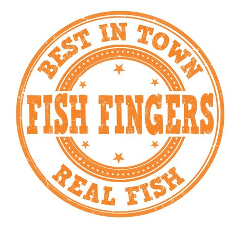 Fish fingers grunge rubber stamp on white Vector