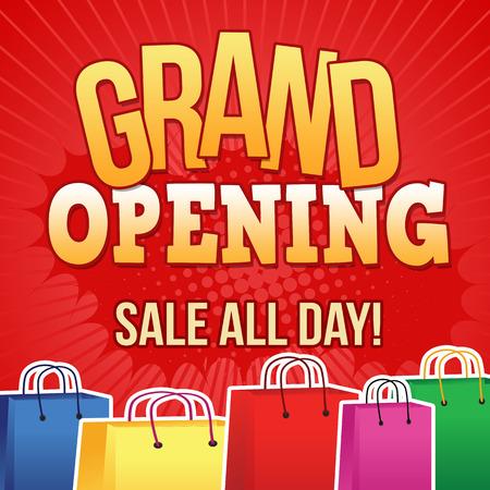 retail shop: Gran plantilla de dise�o de apertura con bolsas de la compra