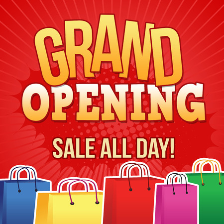 grand sale button: Grand opening design template with shopping bags