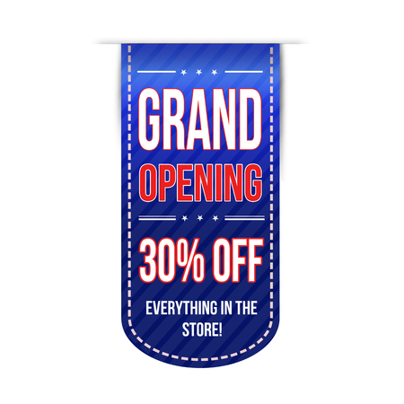 grand sale icon: Grand opening banner design over a white background