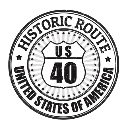 roadtrip: Grunge rubber stamp with text Historic Route 40 on white background