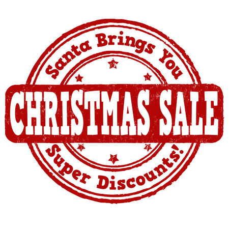 brings: Christmas sale grunge rubber stamp on white Illustration