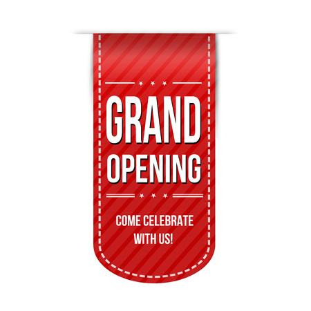 Grand opening banner ontwerp op een witte achtergrond Stock Illustratie