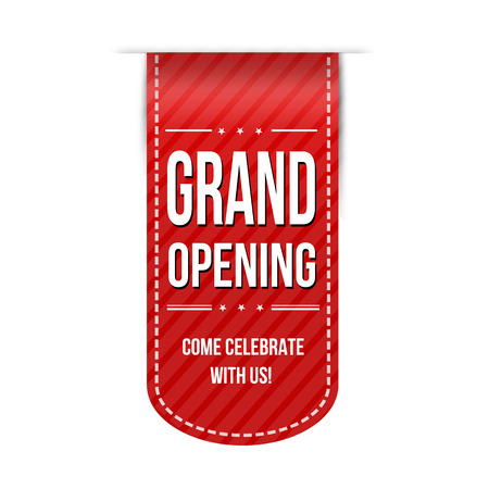 Grand opening banner design over a white background