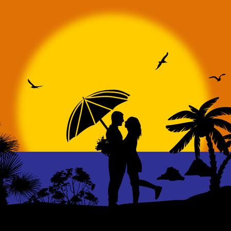 innamorati che si baciano: Coppie romantiche sulla spiaggia al tramonto