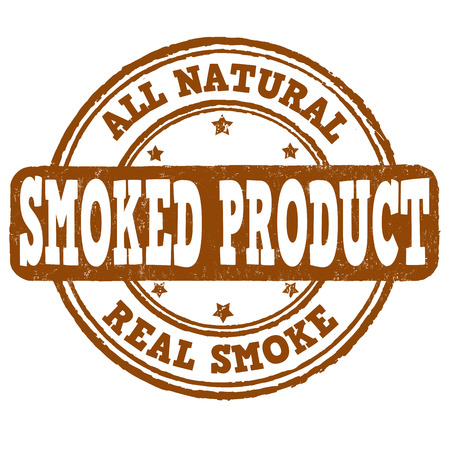 smoked: Smoked product grunge rubber stamp on white Illustration