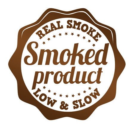 Promotional sticker, icon,stamp or label for smoked product on white