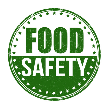 safety circle: Food safety grunge rubber stamp on white Illustration