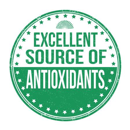 advertiser: Ottima fonte di antiossidanti grunge timbro di gomma su sfondo bianco Vettoriali