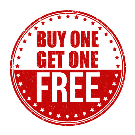 Buy One Get One Free grunge rubber stamp on white background Çizim