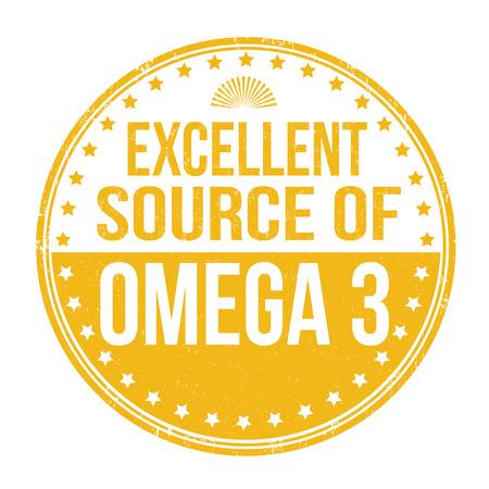quelle: Ausgezeichnete Quelle von Omega-3-Grunge-Stempel auf wei�em Hintergrund