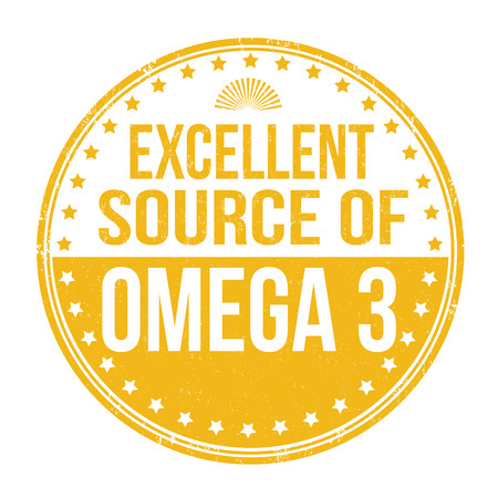 advertiser: Excellent source of omega 3 grunge rubber stamp on white background