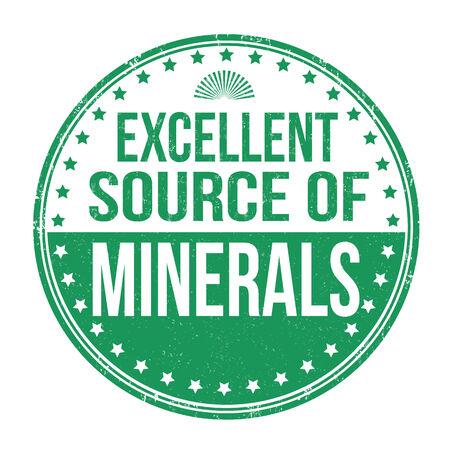 mineralien: Ausgezeichnete Quelle von Mineralien Grunge Stempel auf wei�em Hintergrund Illustration