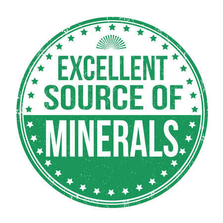 advertize: Excellent source of minerals grunge rubber stamp on white background