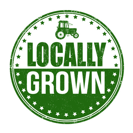Locally grown grunge rubber stamp on white background