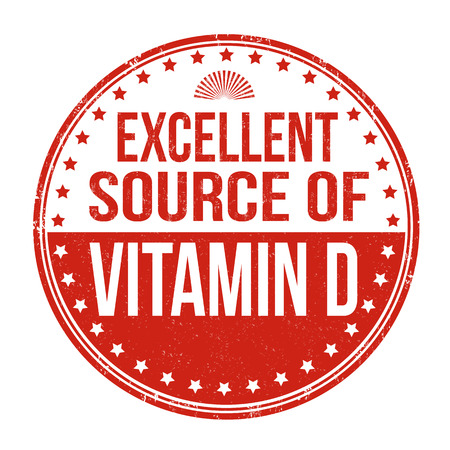 D: Excellent source of vitamin D grunge rubber stamp on white background Illustration